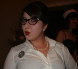 Dina dressed as a librarian for Hallowe'en