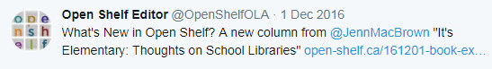 "What's New in Open Shelf? A new column from @JennMacBrown ""It's Elementary: Thoughts on School Libraries"" http://www.open-shelf.ca/161201-book-exchange/ …"