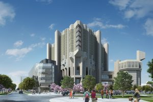 Photo of the Robarts library with a computer-generated rendering of the new library extension, to the left.