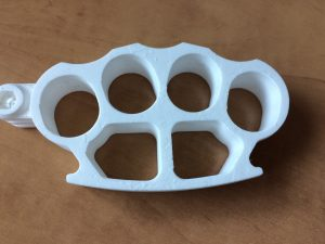 3D Printed Plastic Knuckles in White Plastic