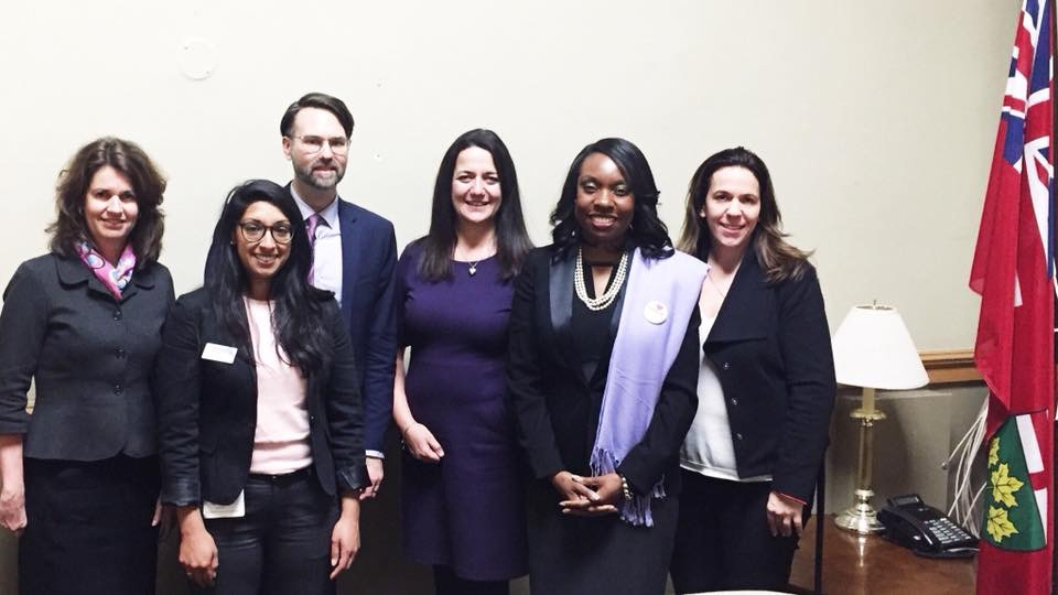Meeting with Hon. Minister Mitzie Hunter at Library Day at Queen's Park. Left to right: Shelagh Patterson, Sarah Shujah, Jesse Carliner, Kate Johnson-McGregor, Hon. Min. Mitize Hunter, Kelly Maggirias. (Photo credit: Jesse Carliner)