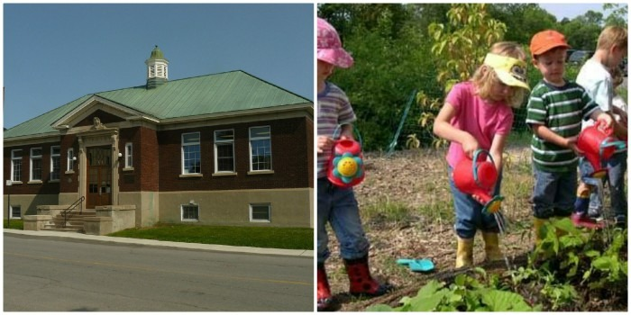 Collage of the Renfrew Public library on the left and children watering plants on the right