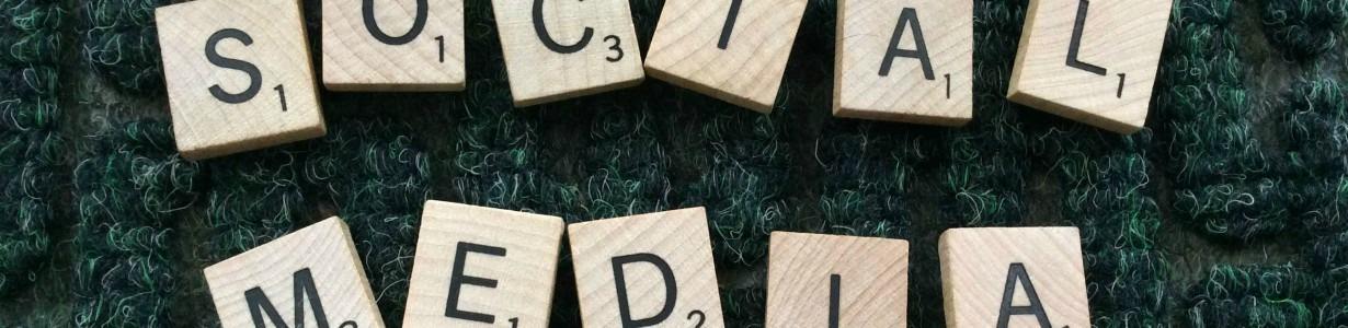 Scrabble tiles spelling social media