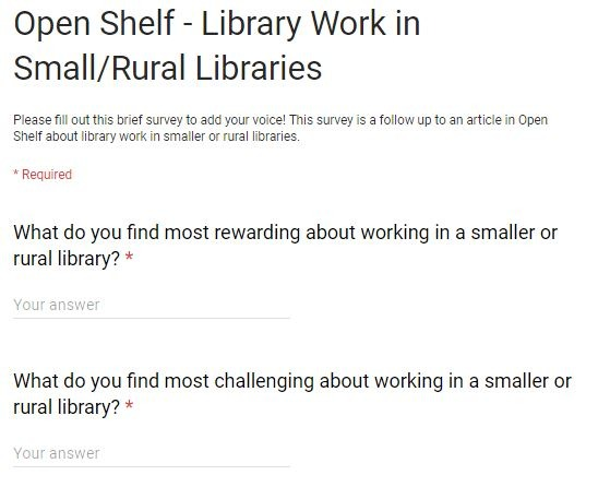 Two survey questions on rural or small libraries