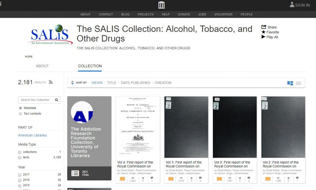 Screen shot of the SALIS collection in the Internet Archive