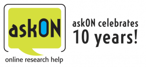 "Logo of the askON service with the words ""askON celebrates 10 years!"""