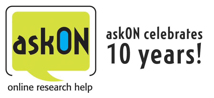 """Logo of the askON service with the words """"askON celebrates 10 years!"""""""