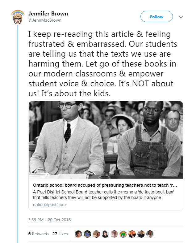 Twitter comment about To Kill and Mockingbird