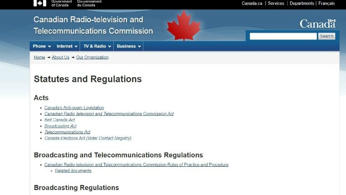 Screen shot of the CRTC website