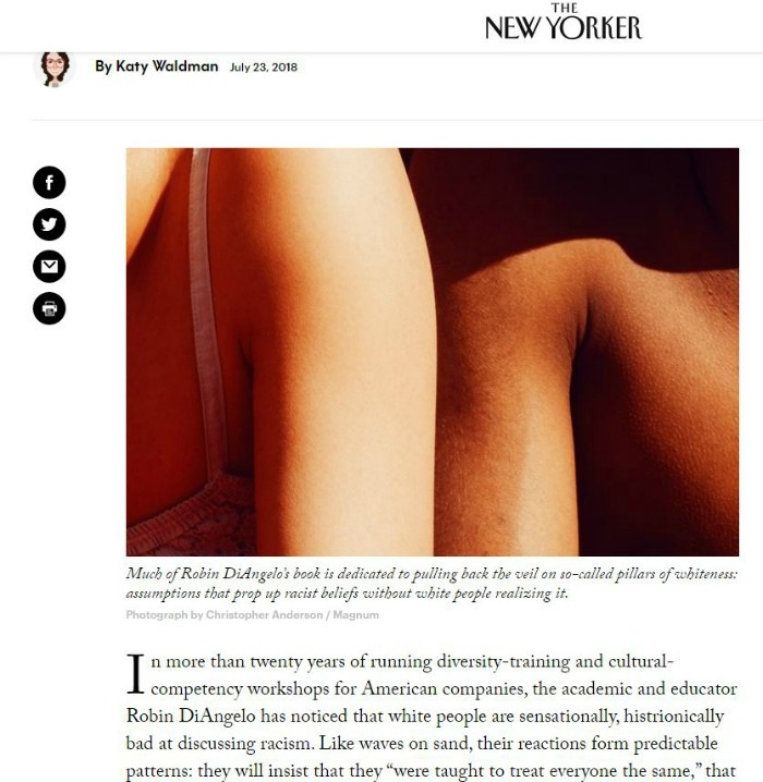Screen shot of New Yorker article on Robin Diangelo