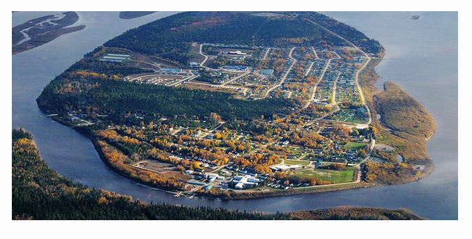 Aerial shot of Moose Factory, Ontario