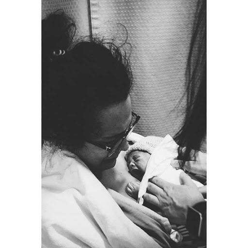 Melanie Parlette-Stewart and newborn son.