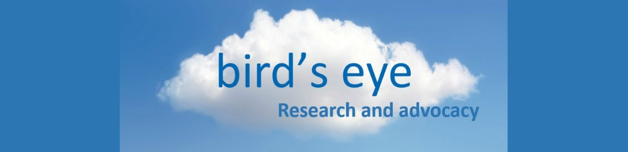 A cloud on blue background with bird's eye, research and advocacy written on it.