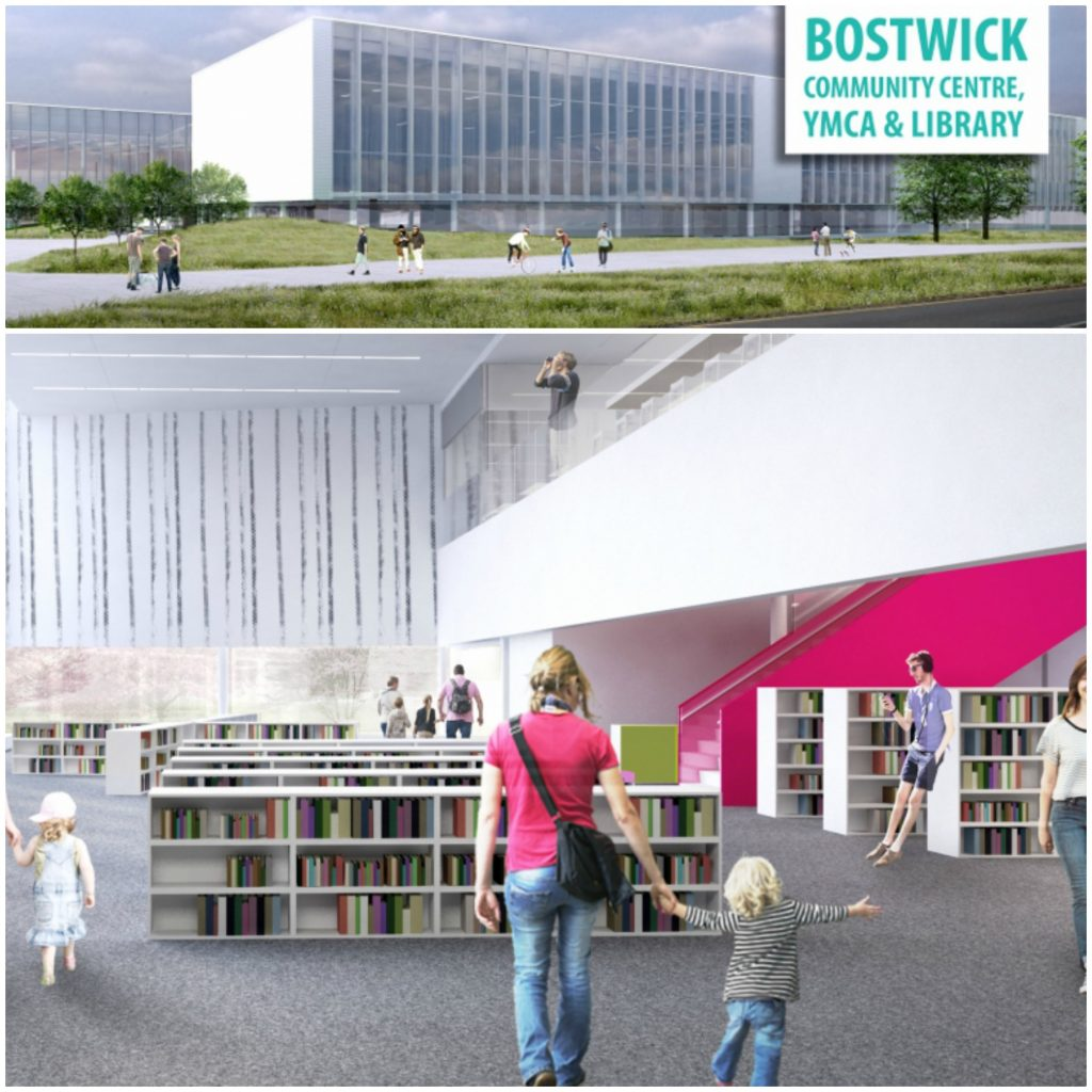A collage with two photos, the top photo is an outside view of the Bostwick Public Library and the bottom view is of the inside with people