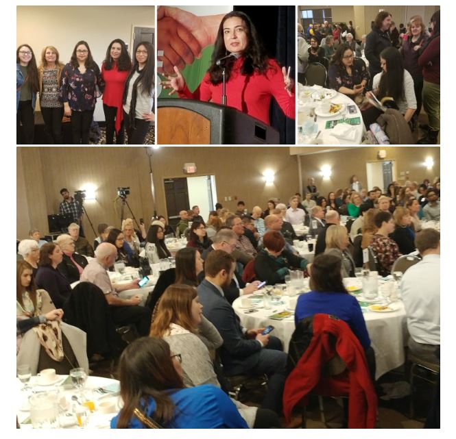 A collage of four photographs featuring participants at the Diversity Breakfast in Thunder Bay, Ontario.