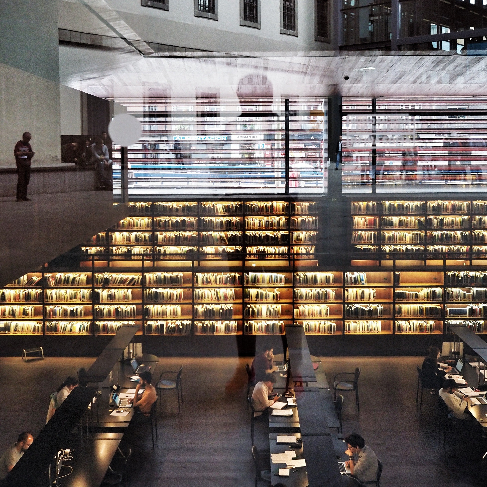 Photo of the interior of a modern library