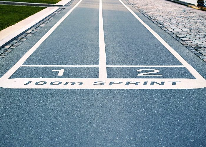 Start Line Of A 100 Meter Track