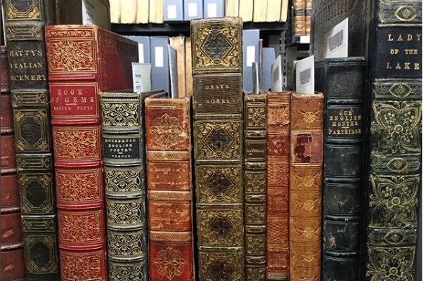 Picture Of Rare Books On A Library Shelf.
