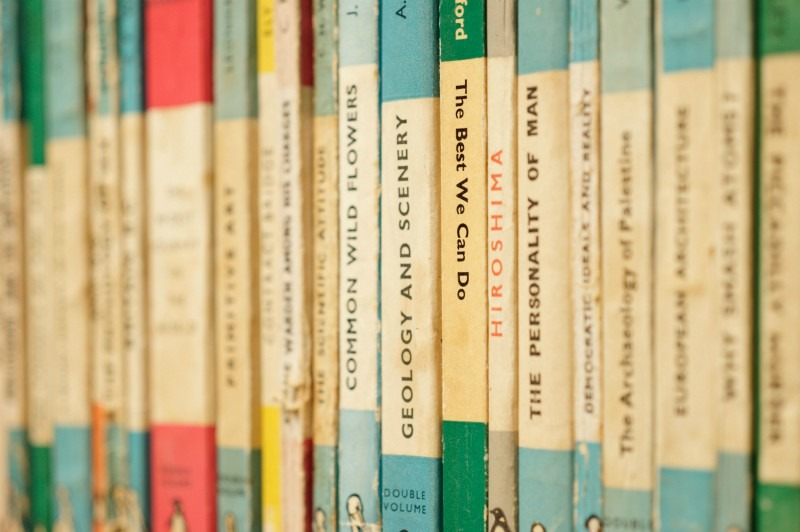 Photo of paperback books on a shelf
