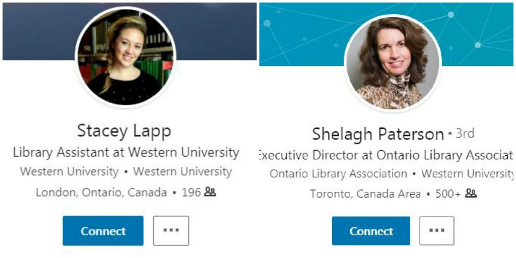 A collage of two screen shots of Stacey Lapp and Shelagh Paterson LinkedIn accounts