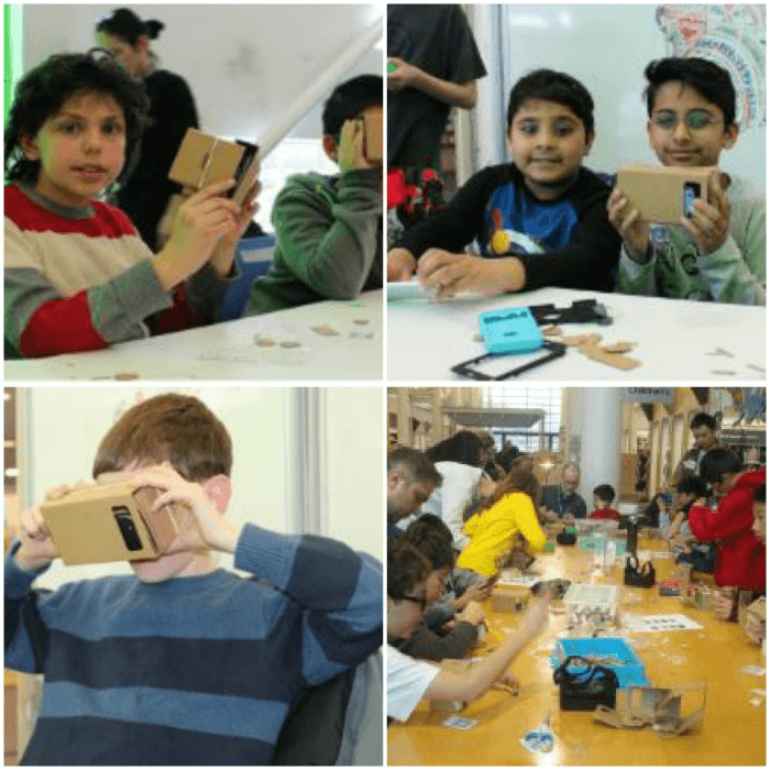 Collage of four images showing children using virtual reality tools
