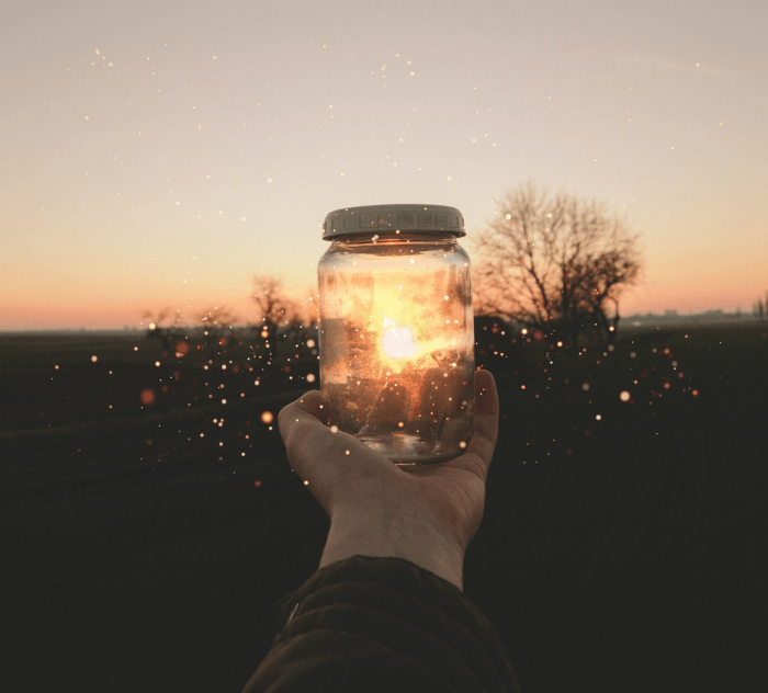 Fireflies In A Jar Being Held By An Outstretched Hand