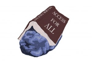 Illustration of a book, open with pages facing down, laying atop a boulder, with the title Marrakesh: Access For All.