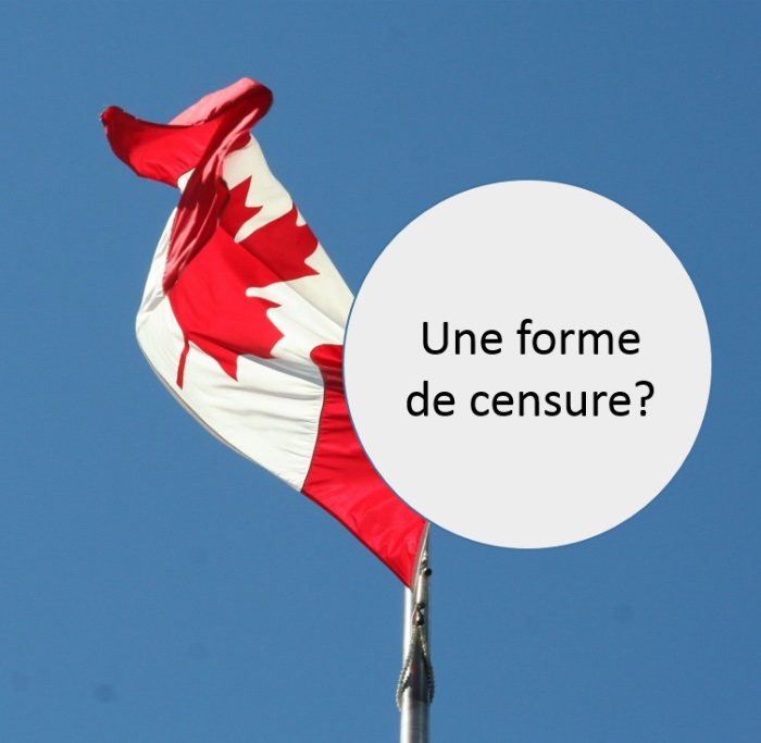 Canada Flag With Censure Written In A Bubble.