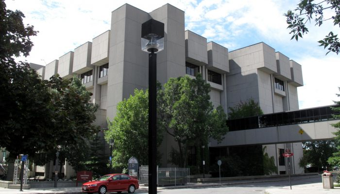 Exterior View Of The University Of Ottawa Library, A Brutalist Concrete Building.