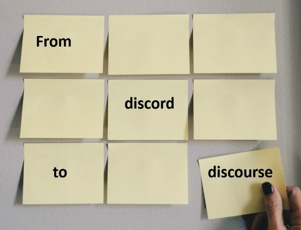 Nine Yellow Stickynotes Arranged In Threes Rows And Three Columns With The Words From Discord To Discourse Arranged Asymmetrically