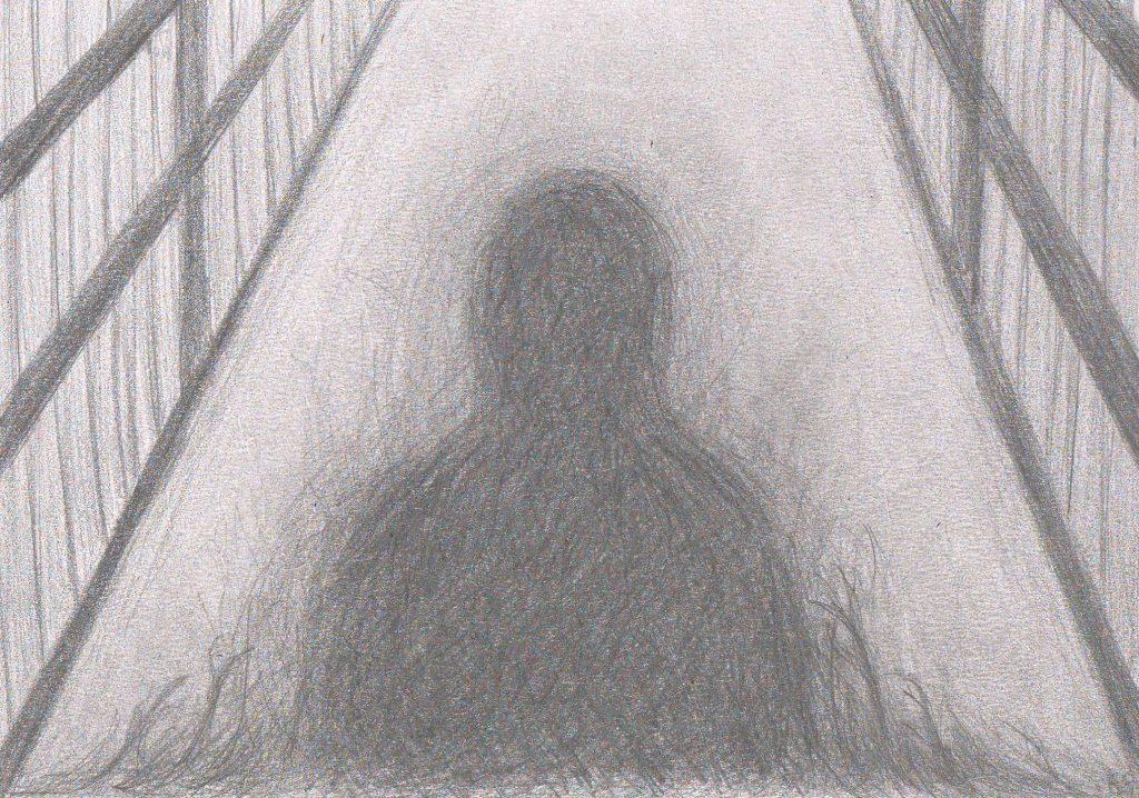 A shadowy figure between bookshelves