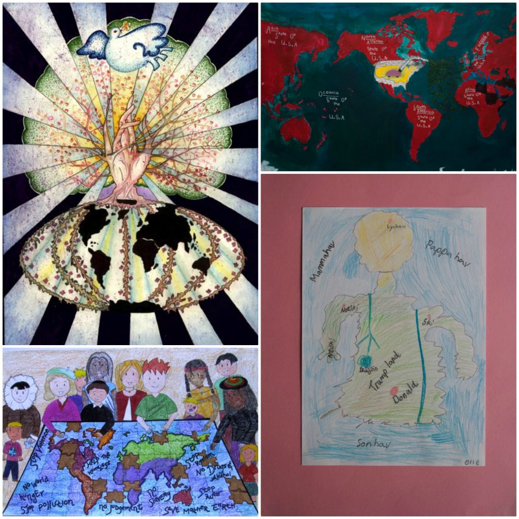 Four maps from the annual Barbara Petchenik children's map collection.
