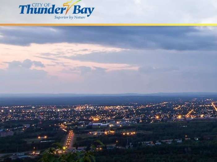 An evening view of Thunder Bay, Ontario.
