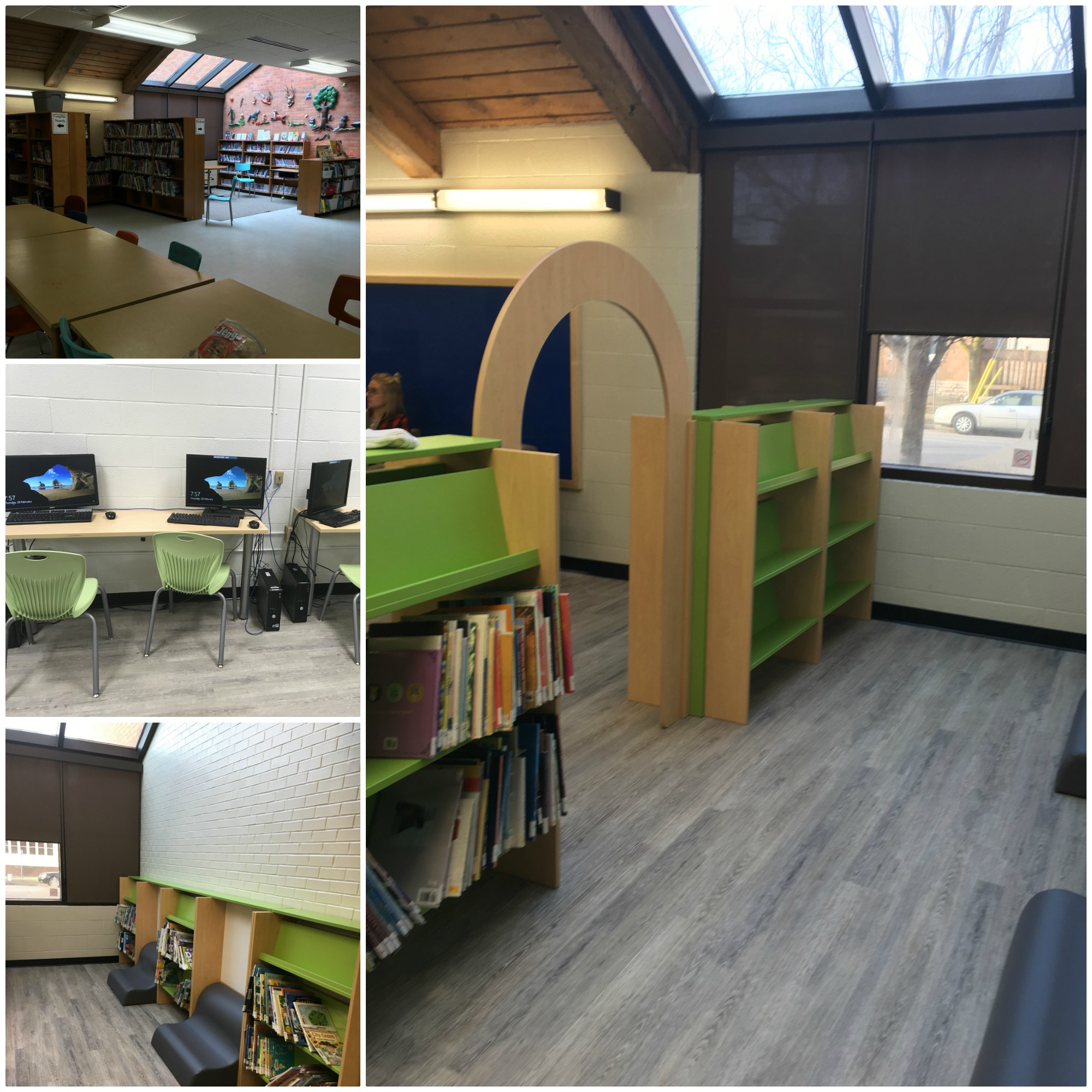 A collage of four photos of the Central Public School learning commons
