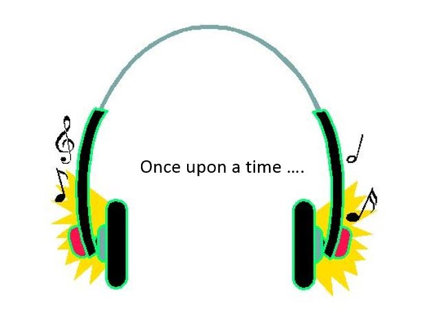 A graphic of head phones with text once upon a time