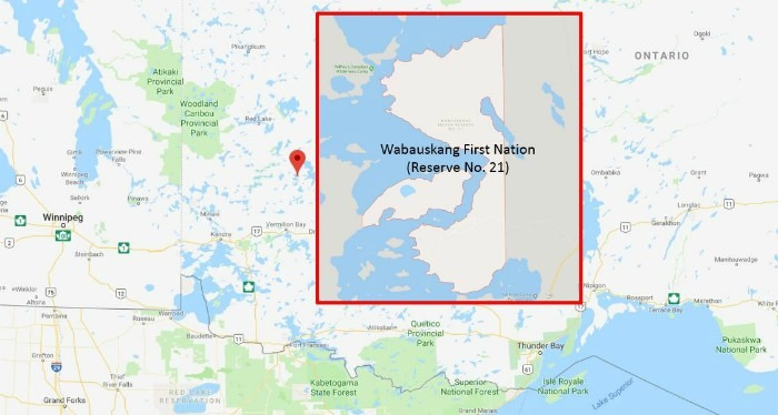 A map of northern Ontario with an inset of Wabauskang First Nation