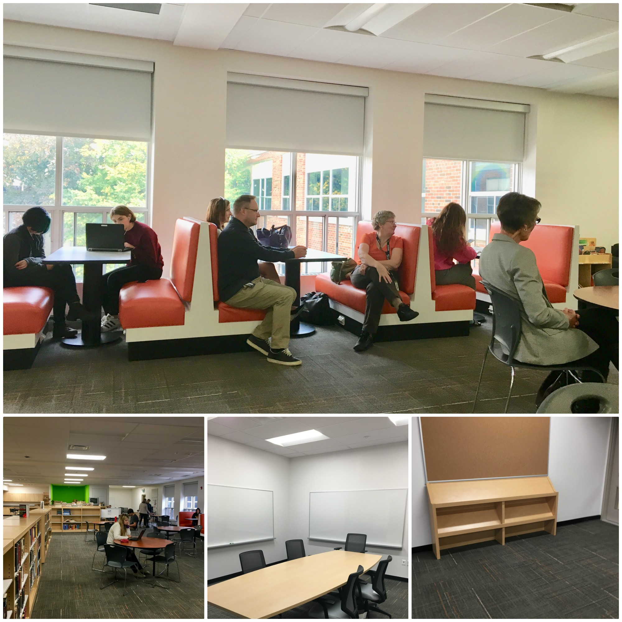 Collage of four photos of the Waterford District High School learning commons