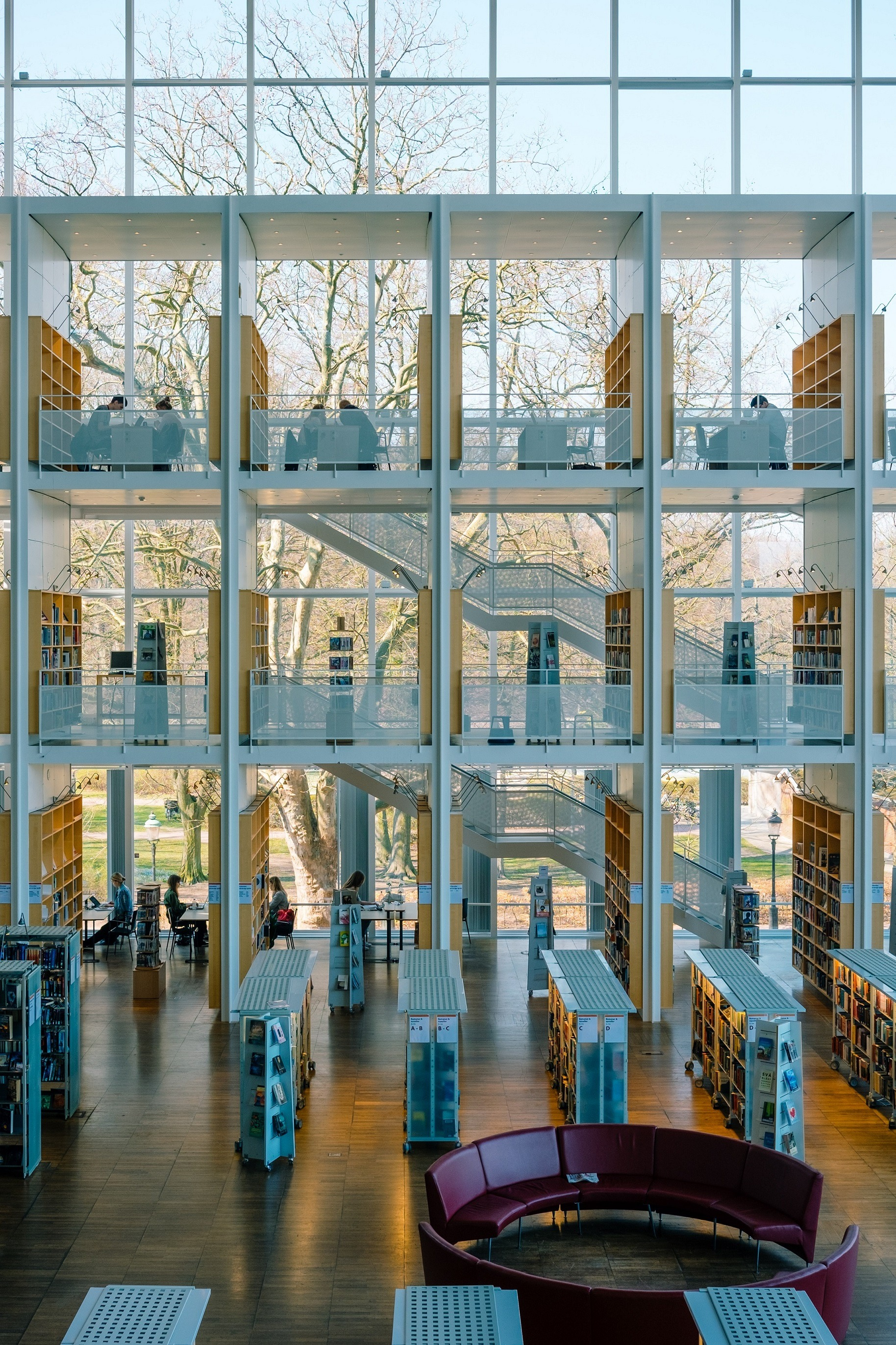 Photo of the interior of a modern library.