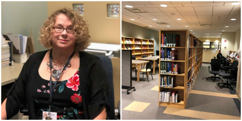 Collage of two photos, on left Kimberley Aslett and on right the library in which she works (books shelves).