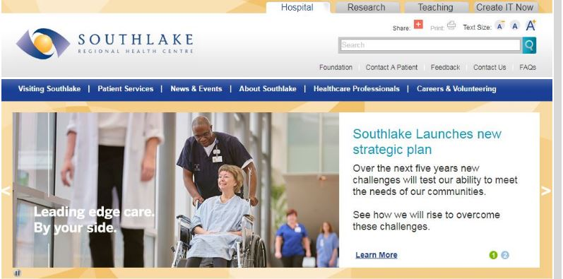 Image of patient in wheelchair from health centre website