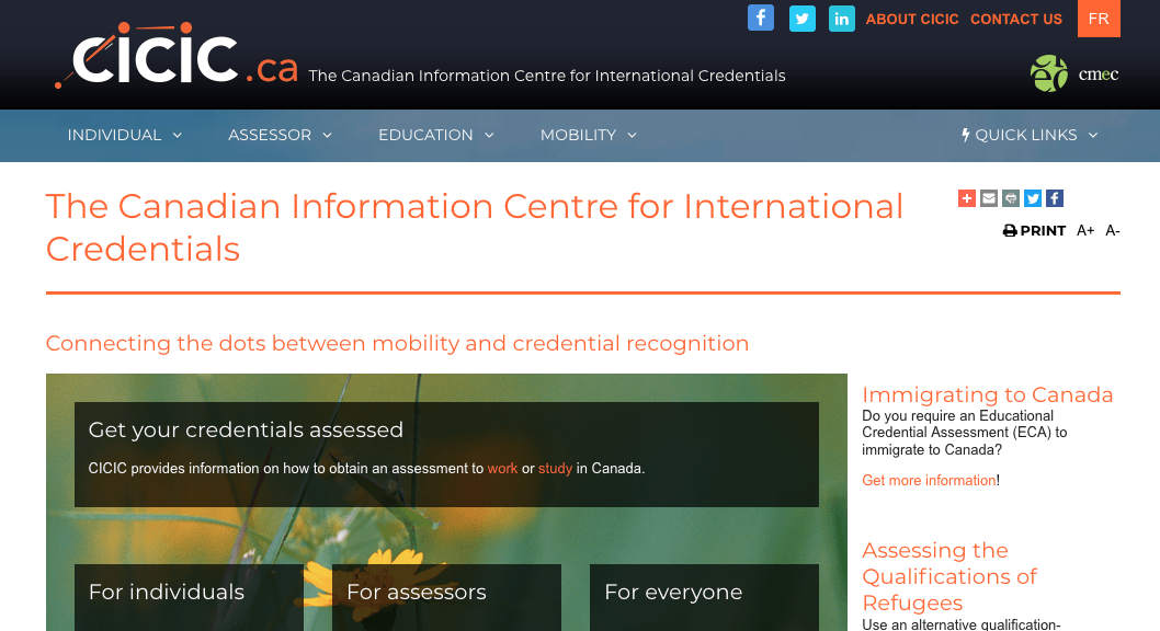 Screenshot of CICIC.ca