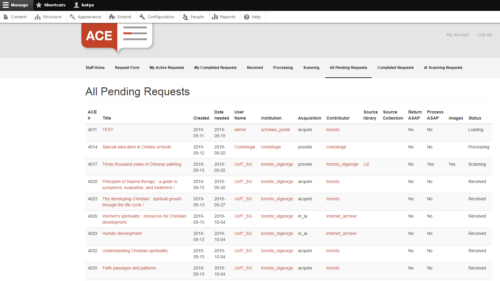 The pending requests section of the ACE staff portal.