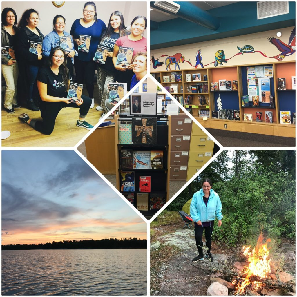 (From top left) Members of the Anishinaabeg book club, (top right and centre) the Indigenous Knowledge Centre at the Thunder Bay Public Library and (bottom left and right) photos of Samantha's canoe trip on Lake Superior last summer.