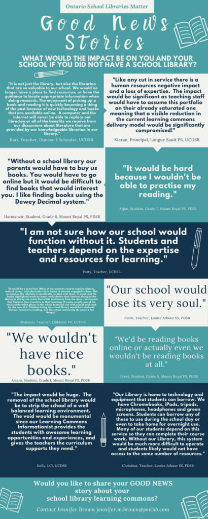 An infographic of quotes from school library staff