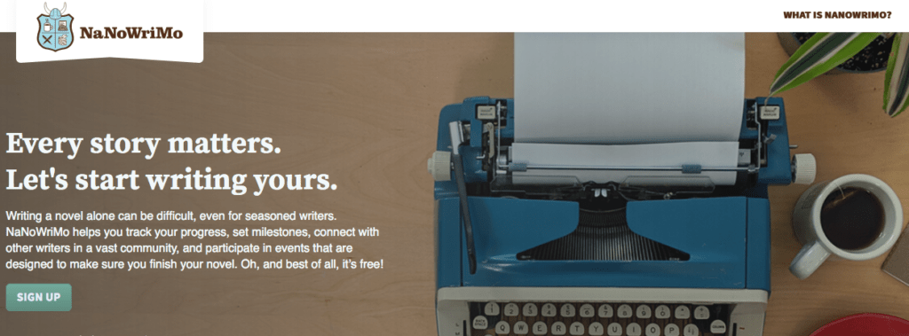 Screen Shot of the NaNoWriMo website.