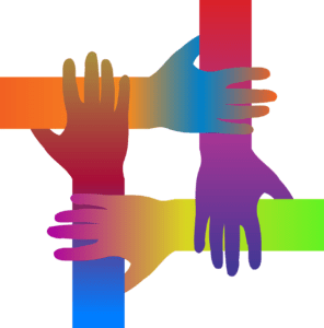 Four differently-coloured hands supporting each other.