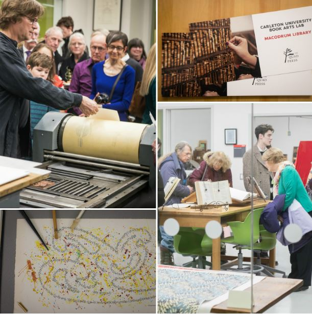 Collage of images of activities in the Book Arts Lab