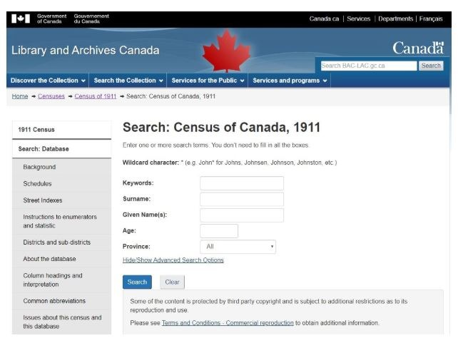 Screen shot of Census search