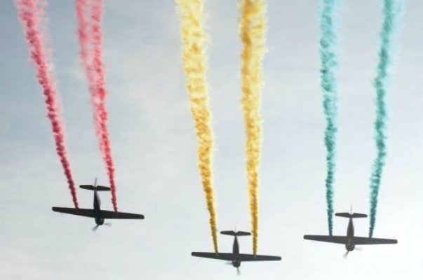 An Aerial Shot Of Three Jets, Each With Different Colour Of Exhaust.
