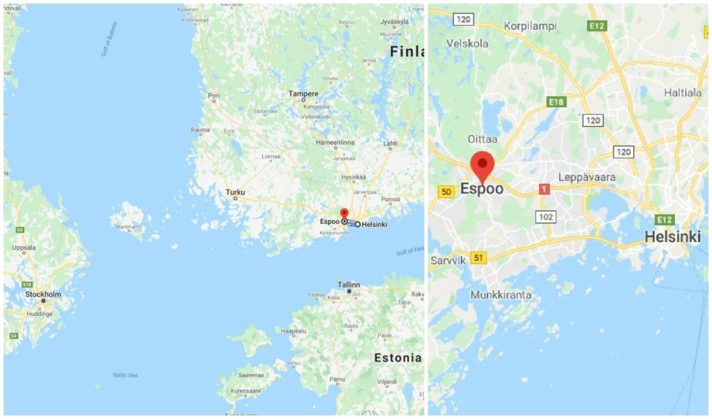 A collage of two maps, showing the cities of Espoo and Helsinki